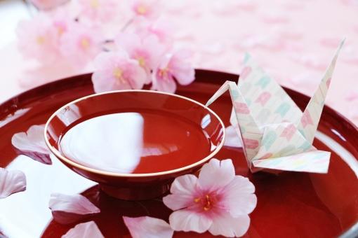 桜と折り鶴