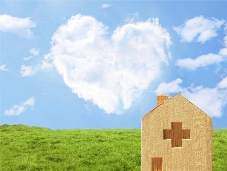 ハート雲と病院